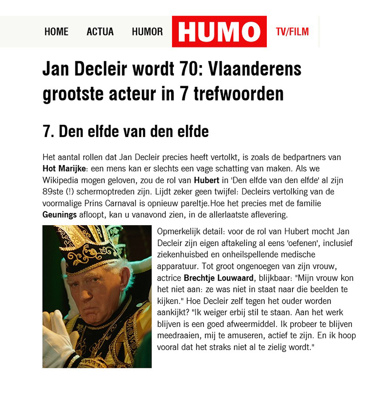 HUMO Jan Decleir 12-02-2016
